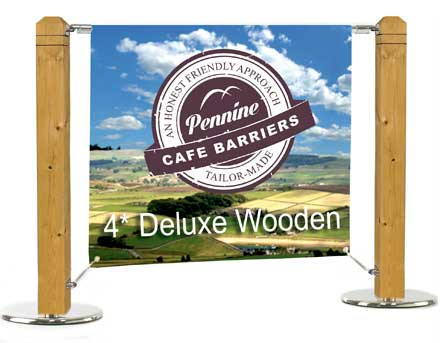 Cafe Barriers and Cafe Banners From Pennine Cafe Barriers - 4-star-cafe-barrier-heavy-duty-wooden-system-cat1