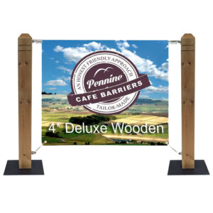Cafe Barriers and Cafe Banners From Pennine Cafe Barriers 4* Heavy Duty Wooden Post System