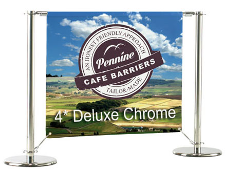 Cafe Barriers and Cafe Banners From Pennine Cafe Barriers - Deluxe Chrome System2