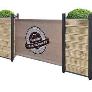 Cafe Barriers and Cafe Banners From Pennine Cafe Barriers Industrial Planters Ribbed Timber Finish