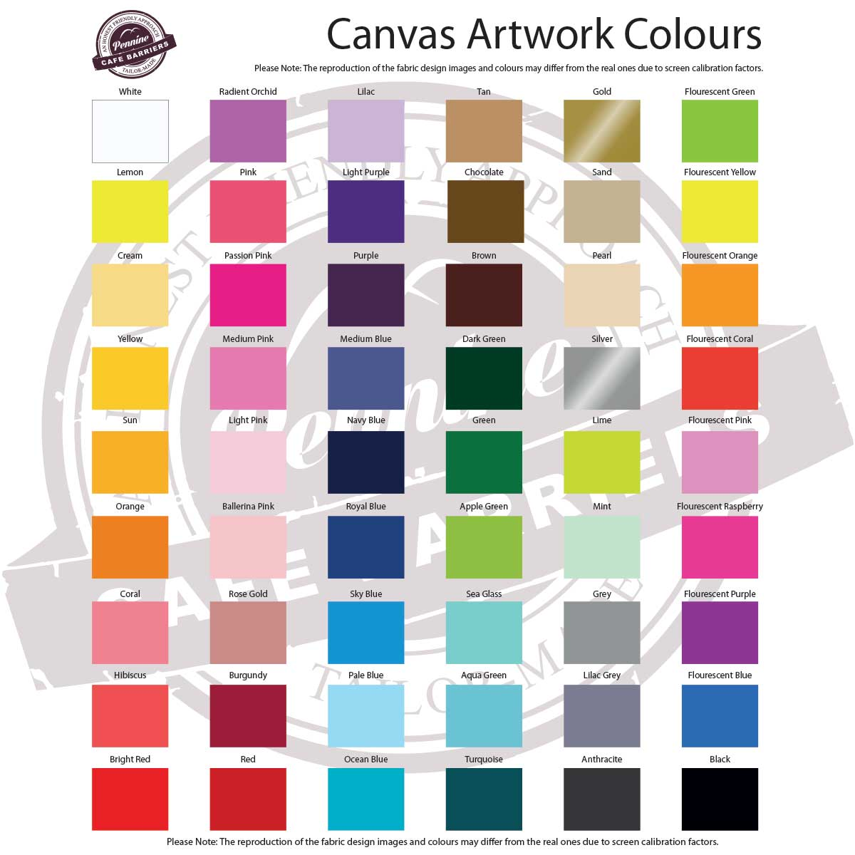 Cafe Barriers Canvas Banners Artwork Heat Pressed Colours