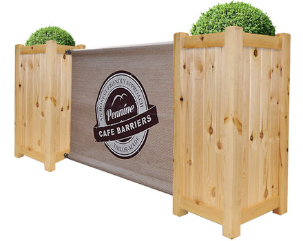 Cafe Barriers and Cafe Banners From Pennine Cafe Barriers - premium-wooden-planter-categoryt-image